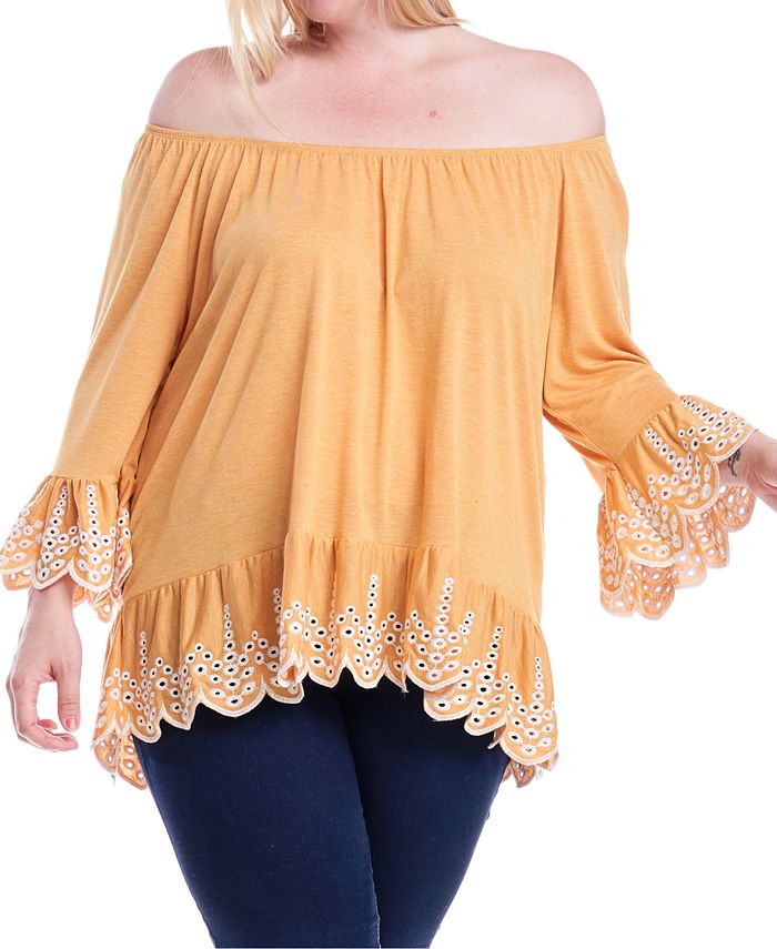 Fever - Plus Size Embroidered Off-The-Shoulder Top