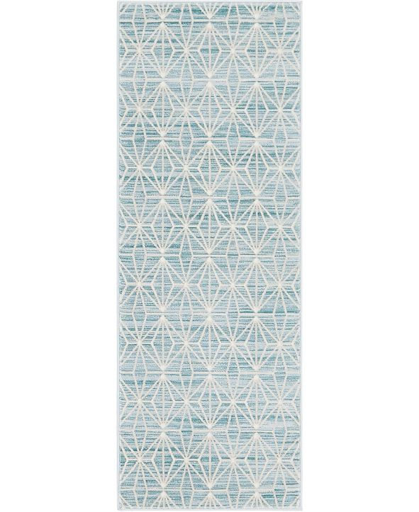 "Jill Zarin Fifth Avenue Uptown Jzu002 Blue 2'2"" x 6' Runner Rug"