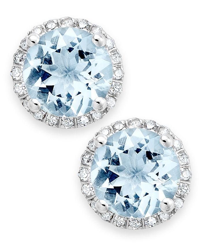 Macy's - Aquamarine (2 ct. t.w.) and Diamond (1/5 ct. t.w.) Stud Earrings in 14k White Gold