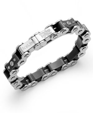 IceLink - Stainless Steel Bracelet, Large Black Bicycle Bracelet