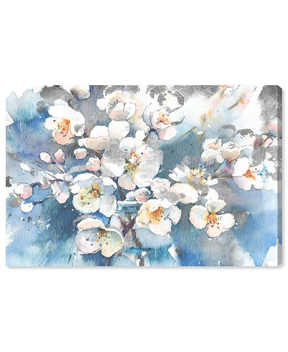 """Oliver Gal Spring Blossom in Blue Canvas Art, 24"""" x 16"""""""