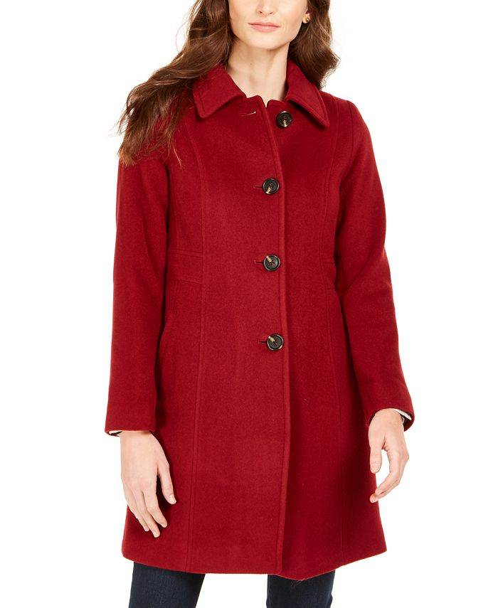 Anne Klein - Petite Single-Breasted Club-Collar Coat
