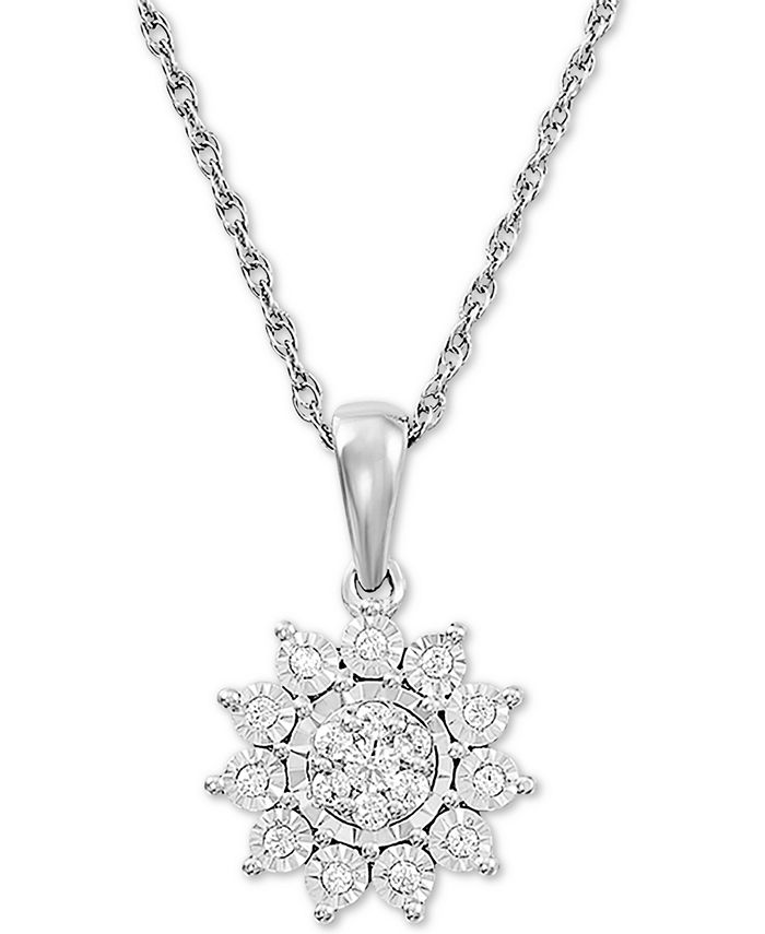 "Macy's - Diamond Flower 18"" Pendant Necklace (1/4 ct. t.w.) in Sterling Silver"