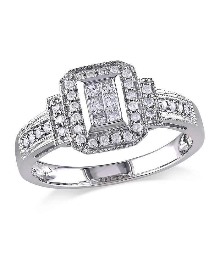 Macy's - Princess and Round Diamond (1/3 ct. t.w.) Halo Engagement Ring in 14k White Gold
