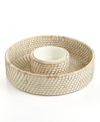 CLOSEOUT! 222 Fifth Serveware, Whitewashed Rattan Chip and Dip