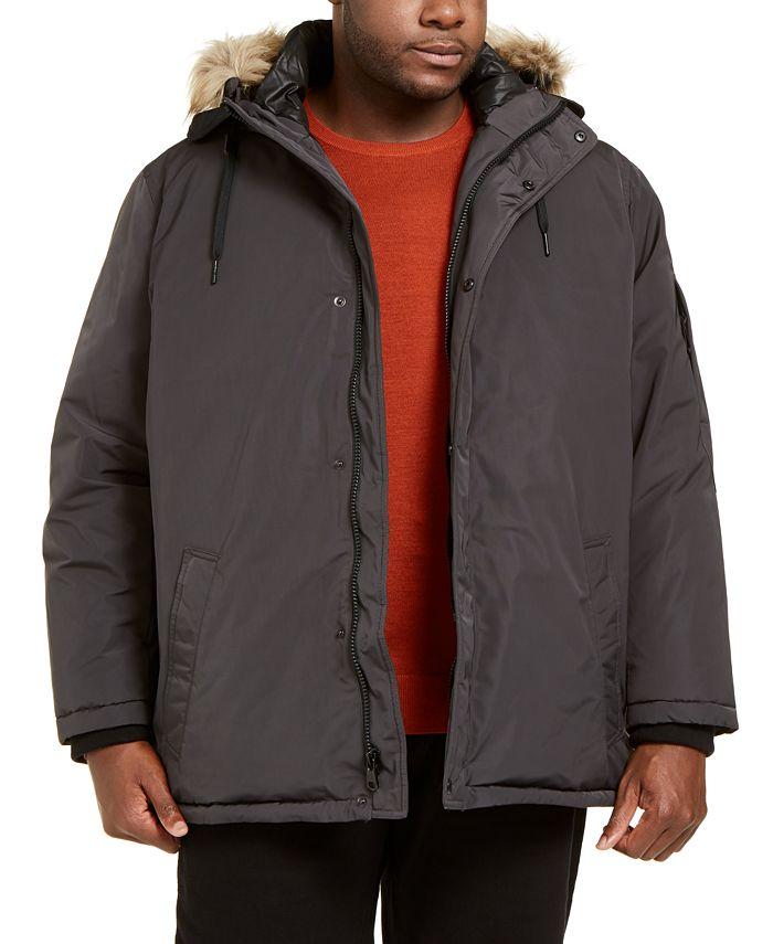 Calvin Klein - Men's Big & Tall Alternative Down Parka Jacket with Faux Fur Hood