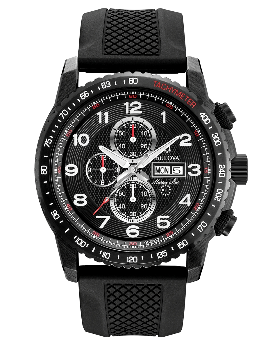 Bulova Mens Chronograph Marine Star Black Rubber Strap Watch 44mm 98C112   Watches   Jewelry & Watches