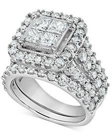 Diamond Princess Cluster Bridal Set (4 ct. t.w.) in 14k White Gold