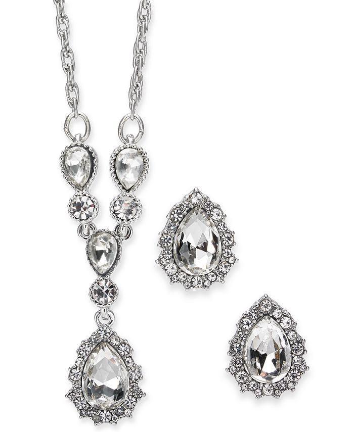 """Charter Club - Silver-Tone Crystal Pendant Y-Necklace & Stud Earrings Boxed Set, 17"""" + 2"""" extender"""