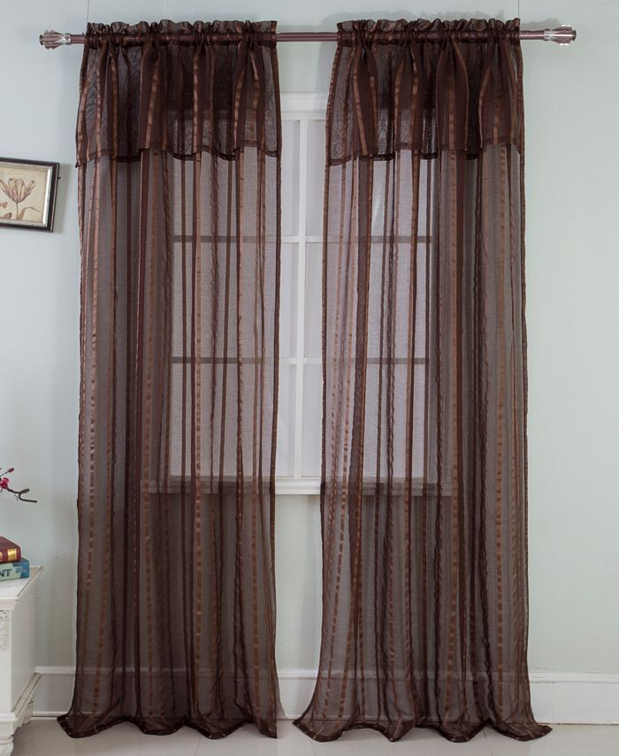 """RT Designers Collection - Gretchen 54"""" x 90"""" Sheer Curtain Panel With Attached Valence"""