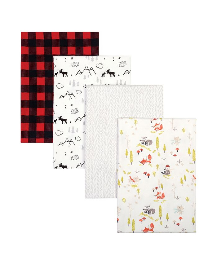 Trend Lab - Buffalo Check Woodland Flannel Receiving Blanket 4-Pack