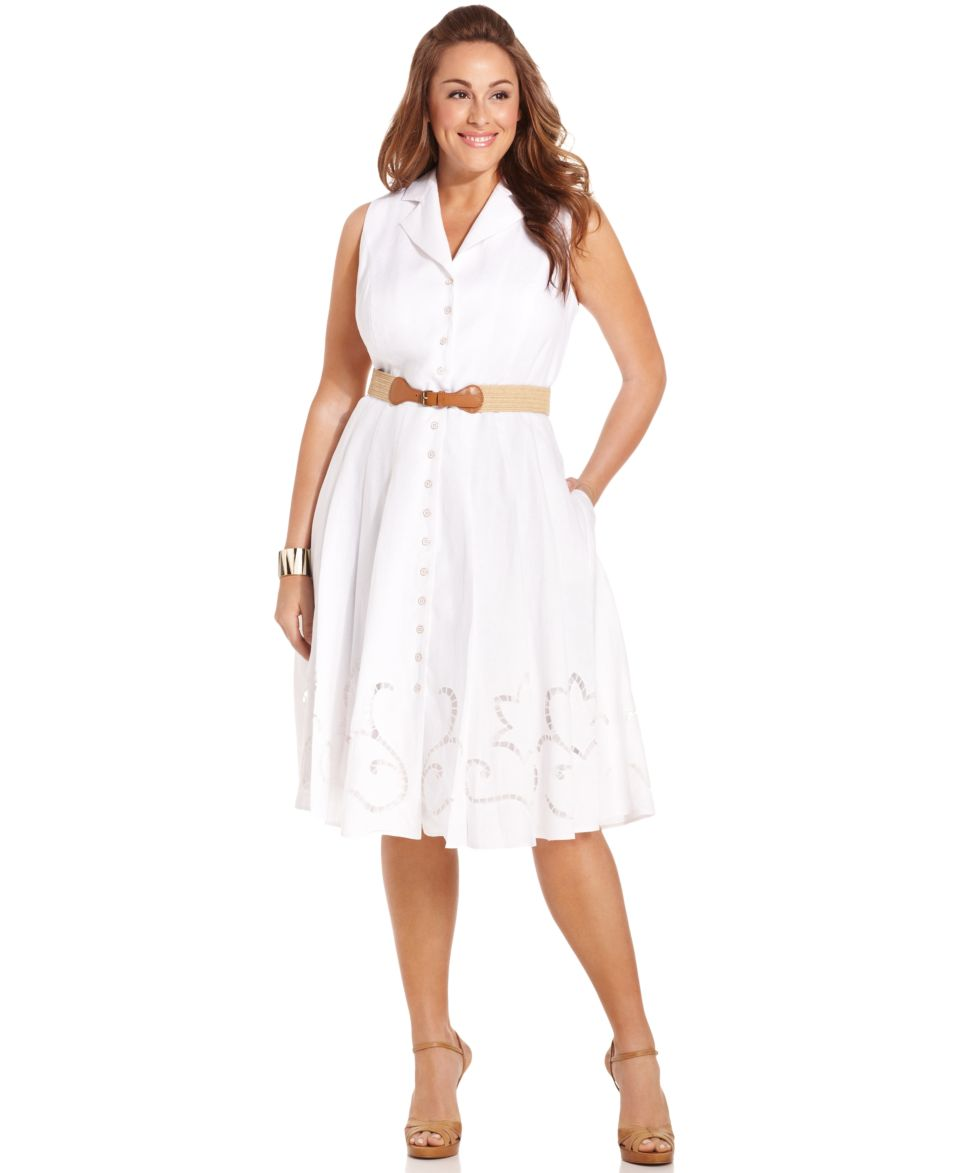 Jones New York Plus Size Dress, Sleeveless Belted Linen ...