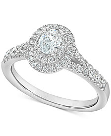 Diamond Oval Halo Ring (7/8 ct. t.w) in 14k White Gold