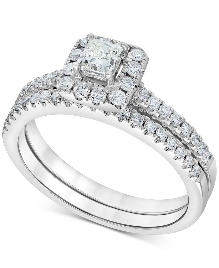 Macy's - Diamond Square Halo Bridal Set (3/4 ct. t.w.) in 14k White Gold