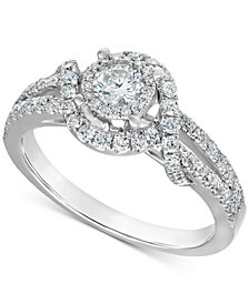 Diamond Swirl Engagement Ring (3/4 ct. t.w.) in 14k White Gold
