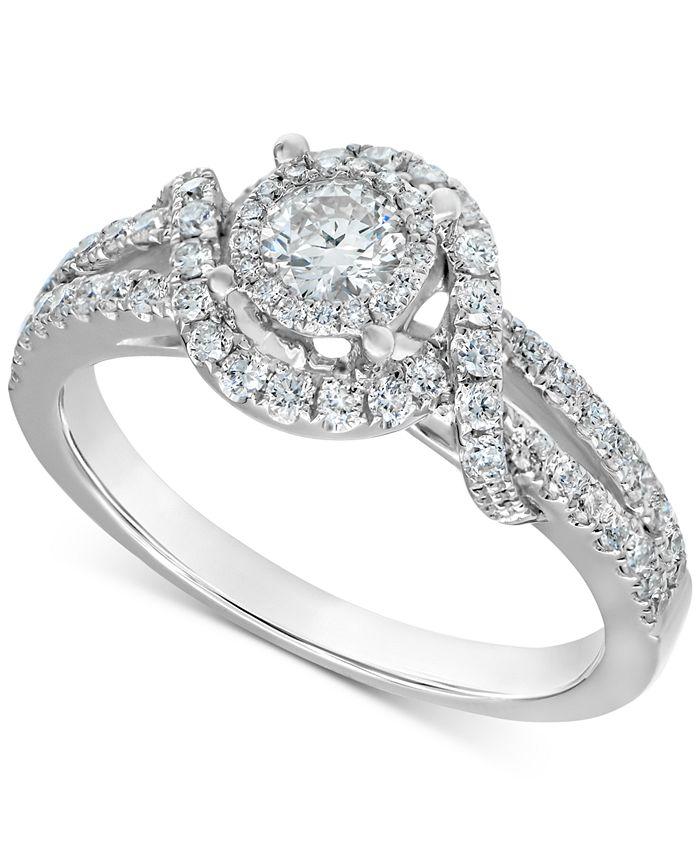 Macy's - Diamond Swirl Engagement Ring (3/4 ct. t.w.) in 14k White Gold