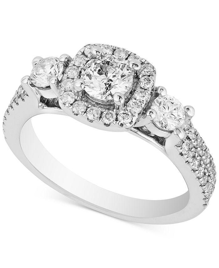Macy's - Diamond Triple Stone Halo Ring (1-1/3 ct. t.w.) in 14k White Gold