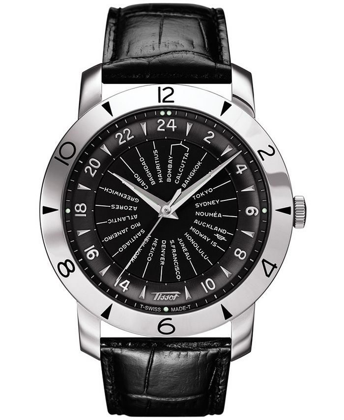 Tissot - Men's Swiss Automatic Heritage Navigator 160th Anniversary Black Leather Strap Watch 43mm