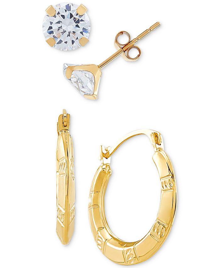Macy's - 2-Pc. Set Cubic Zirconia Stud Earrings & Small Puff Hoop Earrings in 10k Gold