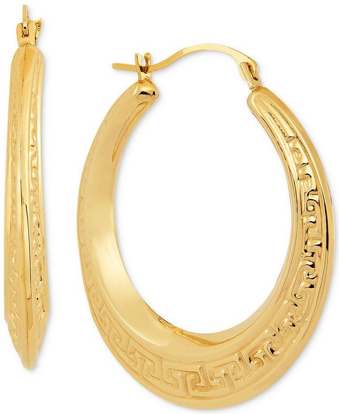Macy's - Greek Key Small Hoop Earrings in 10k Gold