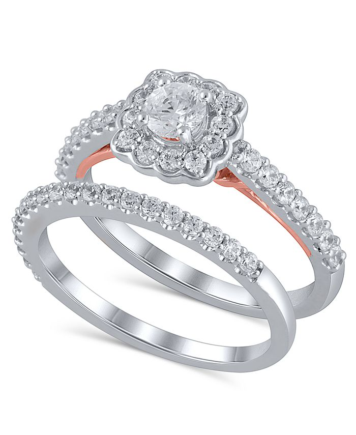 Macy's - Certified Diamond (1 ct. t.w.) Bridal Set in 14K White and Rose Gold