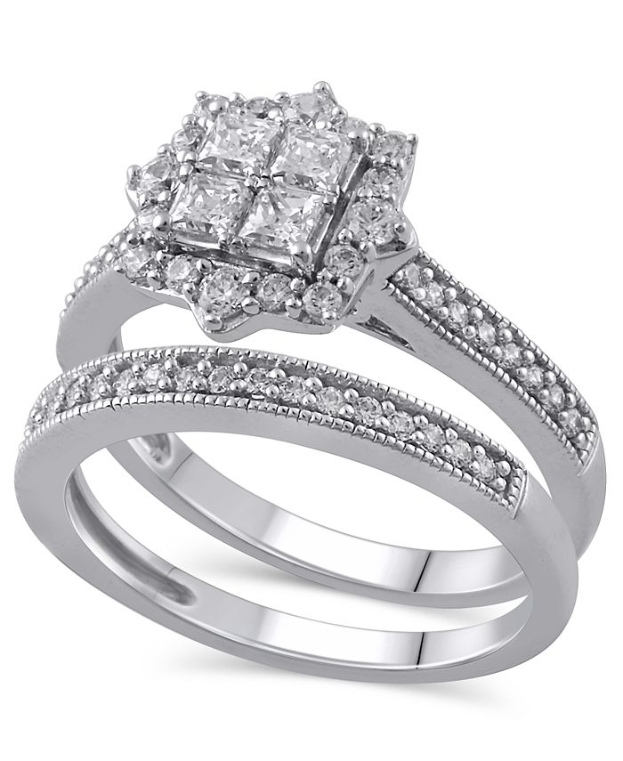 Macy's - Certified Diamond (5/8 ct. t.w.) Bridal Set in 14K White Gold