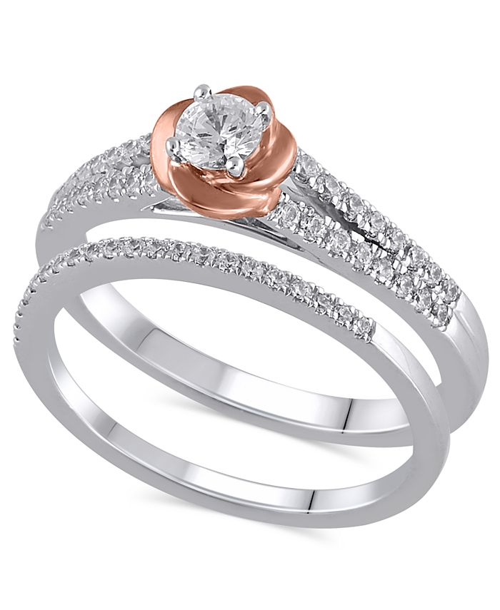 Macy's - Certified Diamond (1/2 ct. t.w.) Bridal Set in 14K White and Rose Gold