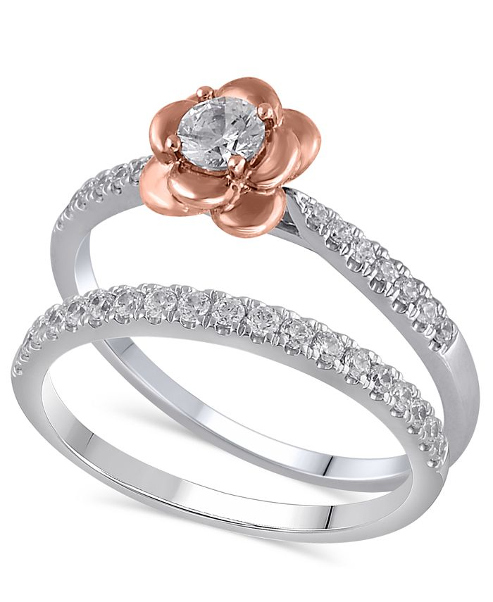 Macy's - Certified Diamond (3/8 ct. t.w.) Bridal Set in 14K White and Rose Gold