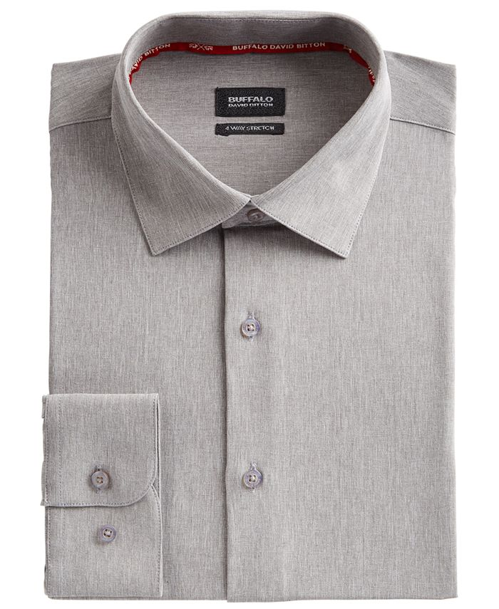 Buffalo David Bitton - Men's Slim-Fit Performance Stretch Gray Solid Chambray Dress Shirt