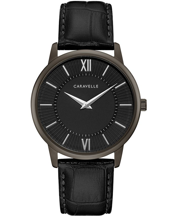 Caravelle - Men's Black Leather Strap Watch 39mm