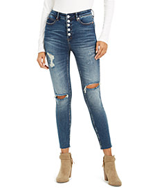 OAT Exposed-Button High-Rise Destructed Skinny Ankle Jeans