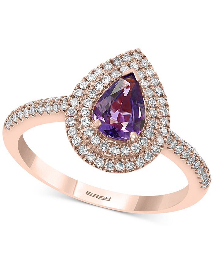 EFFY Collection - Purple Sapphire (7/8 ct. t.w.) & Diamond (3/8 ct. t.w.) Ring in 14k Rose Gold