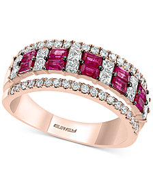 EFFY® Certified Ruby (5/8 ct. t.w.) & Diamond (3/4 ct. t.w.) Band in 14k Rose Gold