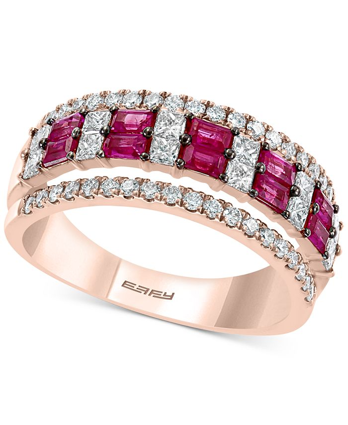 EFFY Collection - Certified Ruby (5/8 ct. t.w.) & Diamond (3/4 ct. t.w.) Band in 14k Rose Gold
