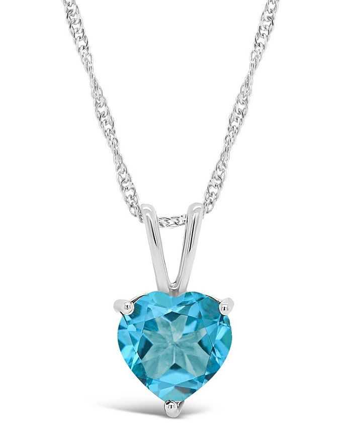 Macy's - Gemstone Pendant Necklace in Sterling Silver. Available in Blue Topaz 2-1/3 ct. t.w. and Amethyst 1-5/8 ct. t.w.