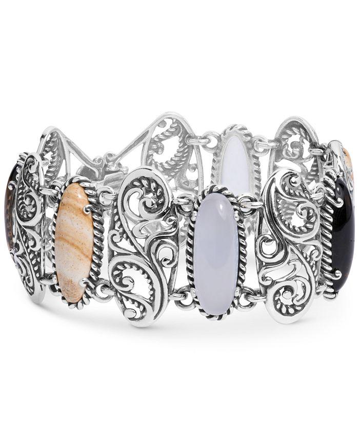 Carolyn Pollack - Multi-Stone Swirl Bangle Bracelet in Sterling Silver
