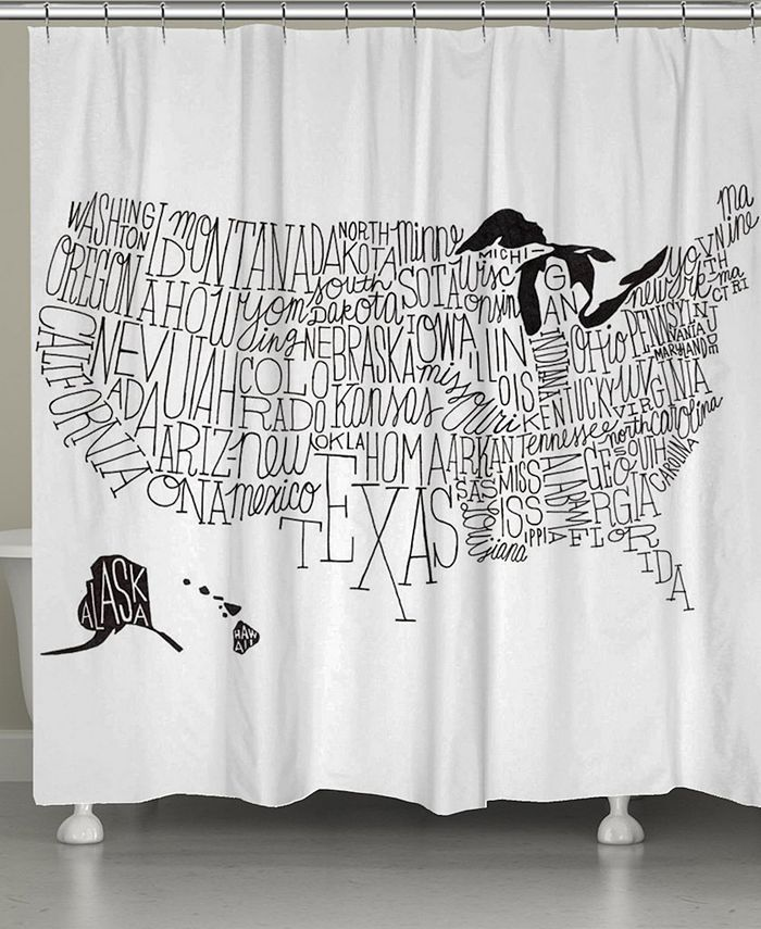 Laural Home - Hand Lettered US Map Shower Curtain