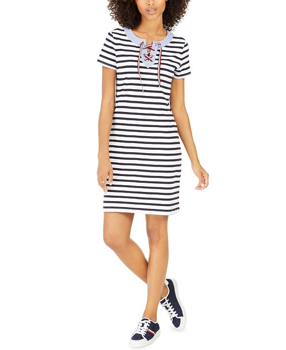 Tommy Hilfiger Striped Lace-Up T-Shirt Dress