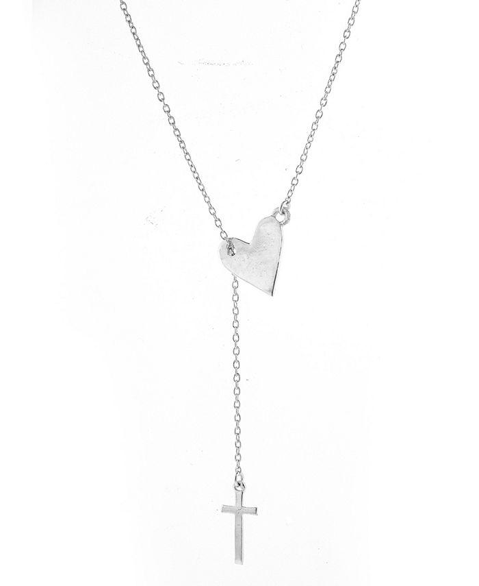 ADORNIA - Heart Cross Lariat Necklace