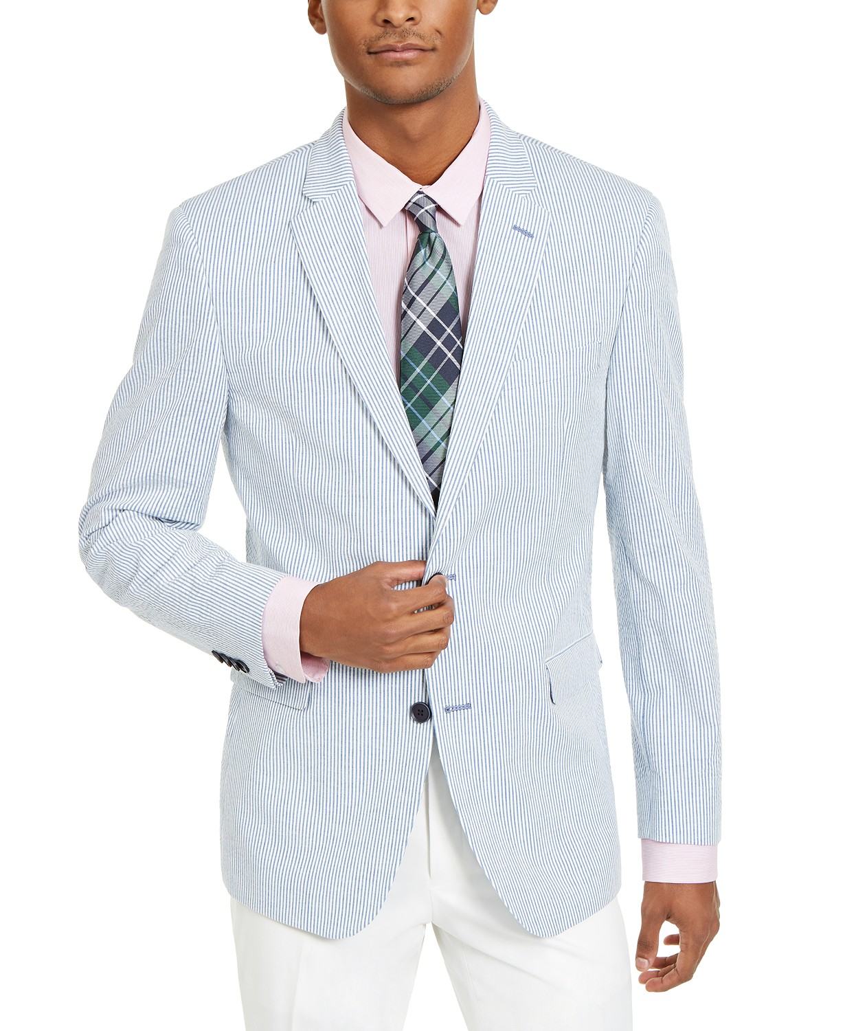 Tommy Hilfiger Men's Modern-Fit Stretch Seersucker Stripe Sport Coat
