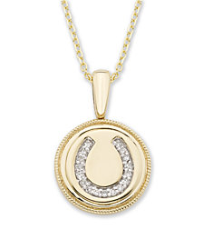 Diamond (1/20 ct. t.w.) Horseshoe Pendant in 14k Yellow or Rose Gold