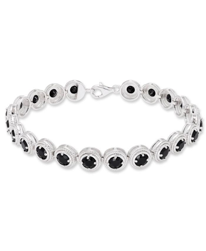 Macy's Round Black Onyx (22 mm) Bracelet in Sterling Silver & Reviews - Bracelets - Jewelry & Watches - Macy's