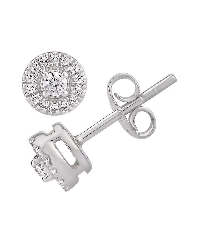 Macy's - Certified Diamond 1/5 ct. t.w. Halo Stud Earrings in 14k White Gold