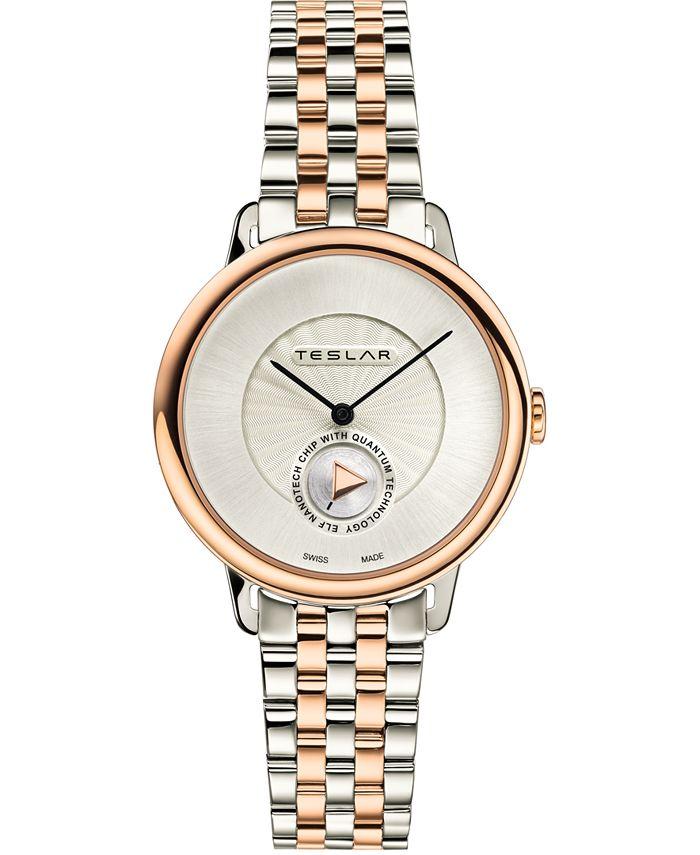 Teslar - Women's Swiss Re-Balance T-1 Two-Tone Stainless Steel Bracelet Watch 36mm