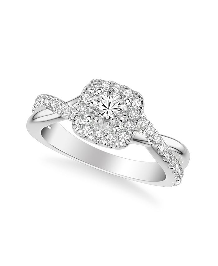 Macy's - Diamond Halo Engagement Ring (7/8 ct. t.w.) in 14k White, Yellow or Rose Gold