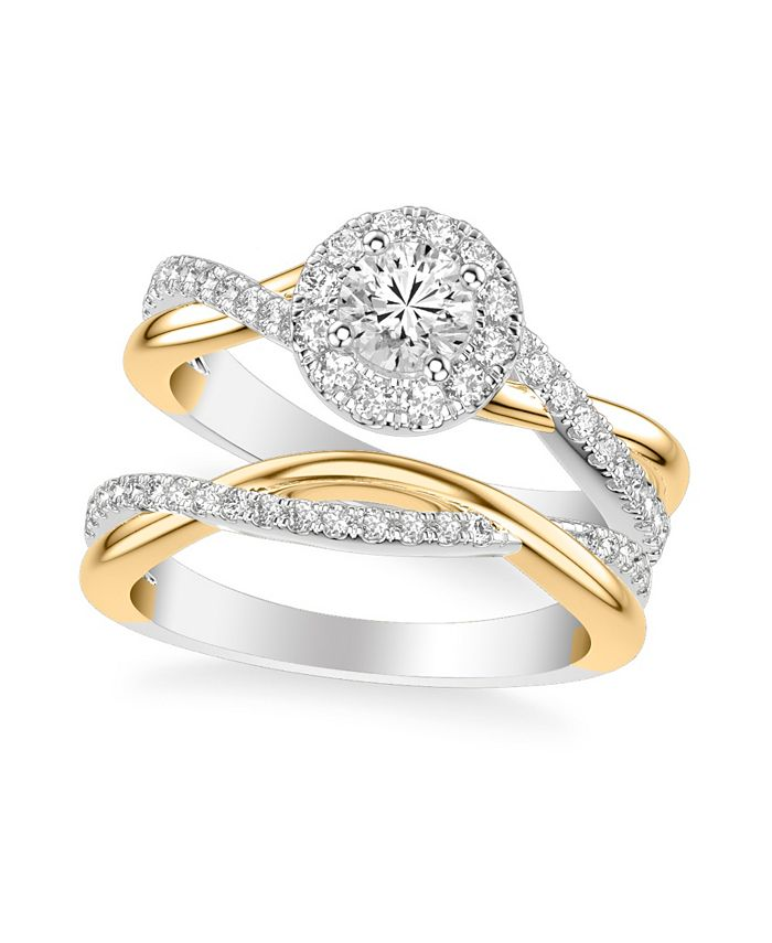 Macy's - Diamond Halo Bridal Set (1 ct. t.w.) in 14k White & Yellow Gold or White & Rose Gold