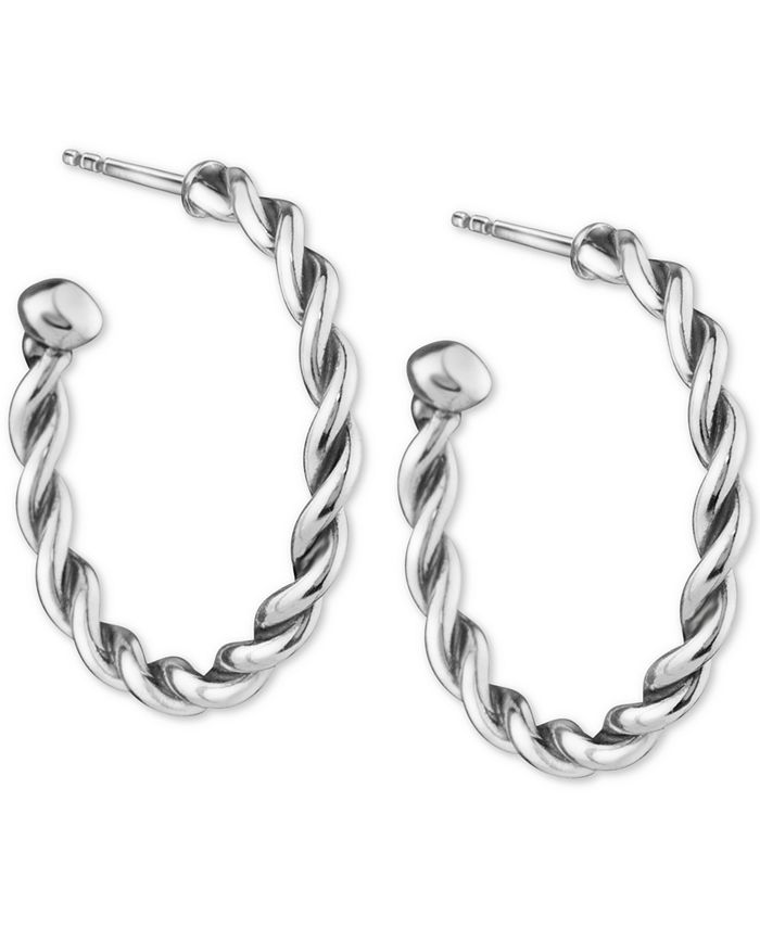 American West - Small Twist Hoop Earrings in Sterling Silver, 1""