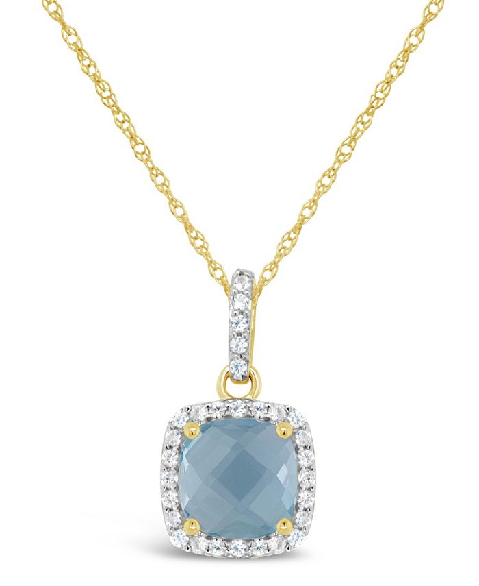 Macy's - Blue Topaz (1-5/8 ct. t.w.) and Created White Sapphire (1/6 ct. t.w.) Pendant Necklace in 10k Yellow Gold