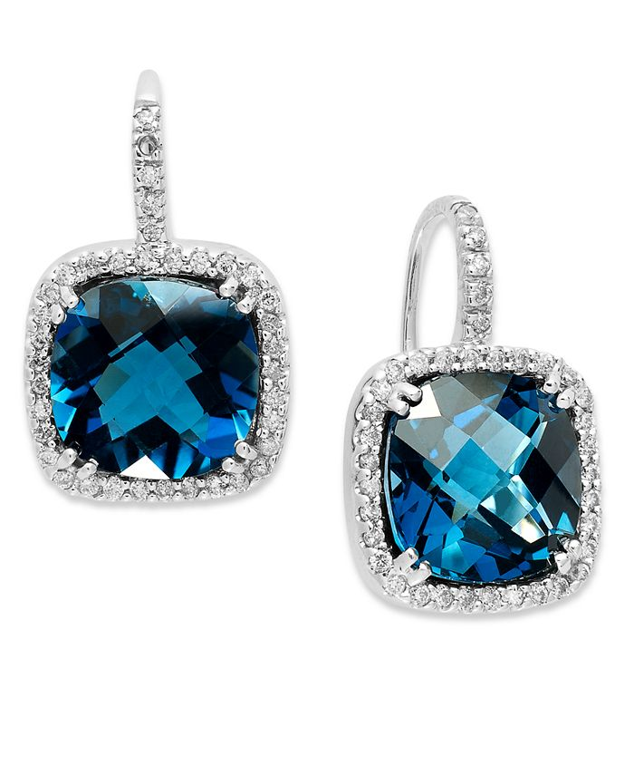 Macy's - 14k White Gold Earrings, London Blue Topaz (10 ct. t.w.) and Diamond (1/3 ct. t.w.) Leverback Earrings