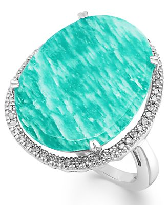 Sterling Silver Amazonite (12-1/2 ct. t.w.) and Diamond (1/5 ct. t.w.) Ring